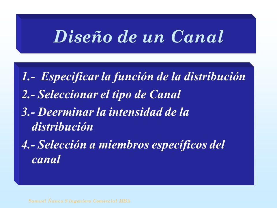 Diseño de un Canal 1.- Especificar la función de la distribución 2.- Seleccionar el tipo de Canal 3.- Deerminar la intensidad de la distribución 4.- S