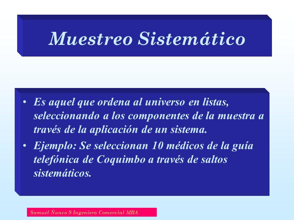 Muestreo Sistemático Es aquel que ordena al universo en listas, seleccionando a los componentes de la muestra a través de la aplicación de un sistema.