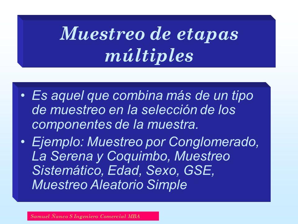 Muestreo de etapas múltiples Es aquel que combina más de un tipo de muestreo en la selección de los componentes de la muestra. Ejemplo: Muestreo por C