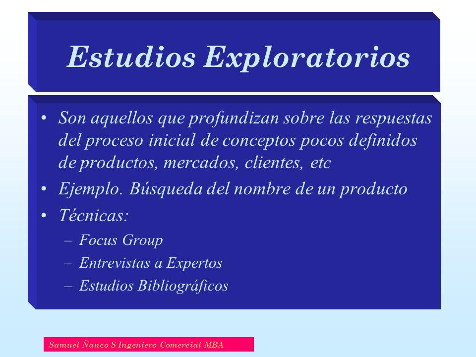 Estudios Exploratorios Son aquellos que profundizan sobre las respuestas del proceso inicial de conceptos pocos definidos de productos, mercados, clie