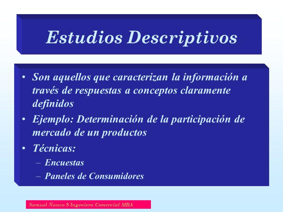Estudios Descriptivos Son aquellos que caracterizan la información a través de respuestas a conceptos claramente definidos Ejemplo: Determinación de l