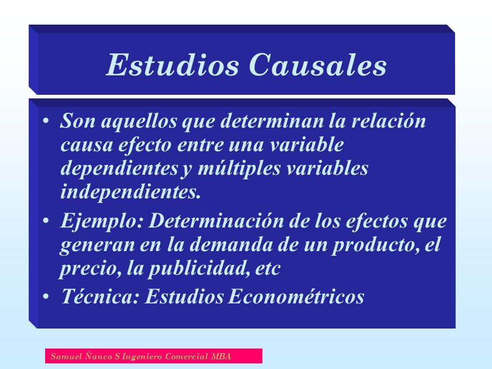 Estudios Causales Son aquellos que determinan la relación causa efecto entre una variable dependientes y múltiples variables independientes. Ejemplo: