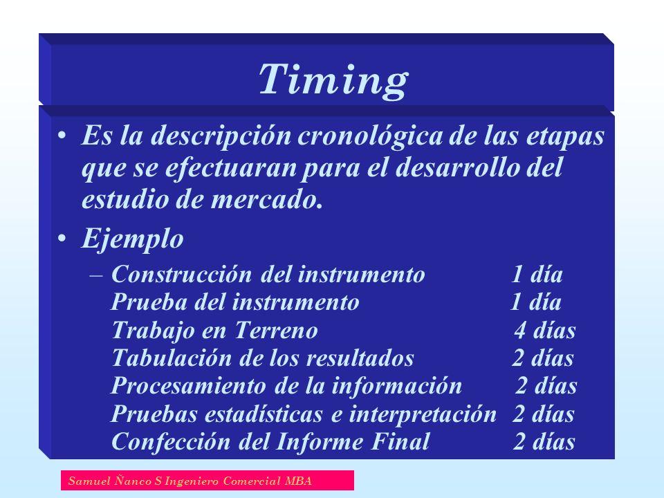 Timing Es la descripción cronológica de las etapas que se efectuaran para el desarrollo del estudio de mercado. Ejemplo –Construcción del instrumento