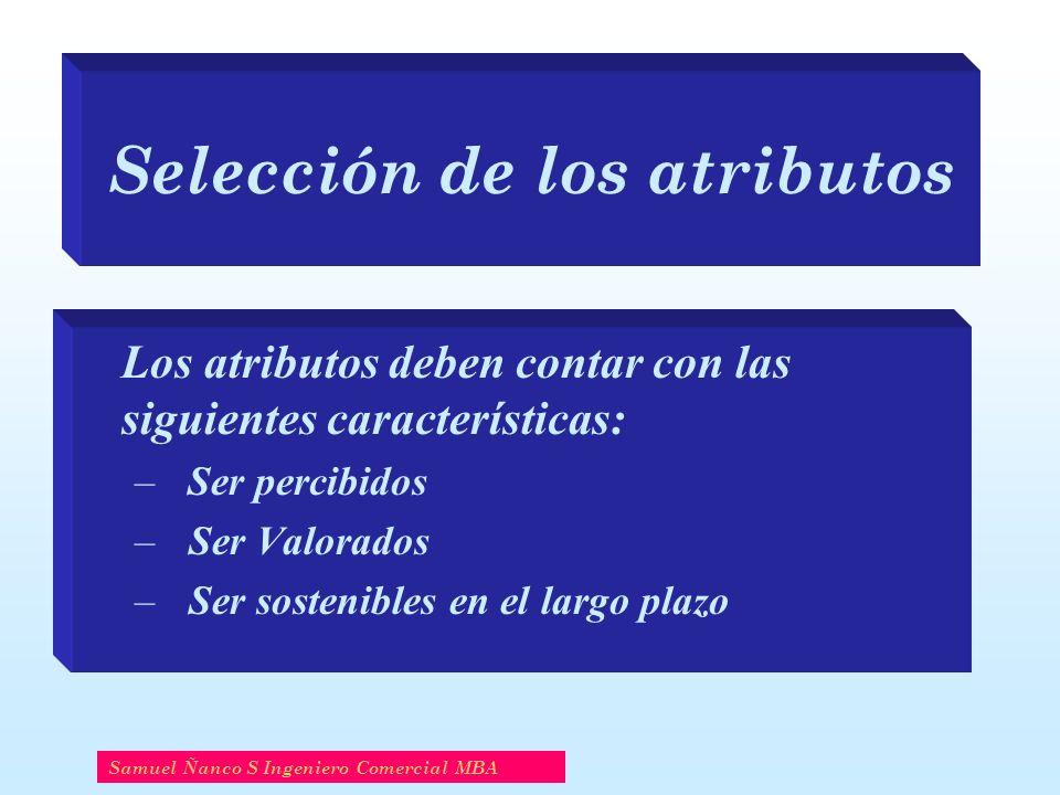 Selección de los atributos Los atributos deben contar con las siguientes características: –Ser percibidos – Ser Valorados – Ser sostenibles en el largo plazo Samuel Ñanco S Ingeniero Comercial MBA