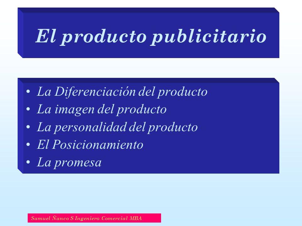 El producto publicitario La Diferenciación del producto La imagen del producto La personalidad del producto El Posicionamiento La promesa Samuel Ñanco