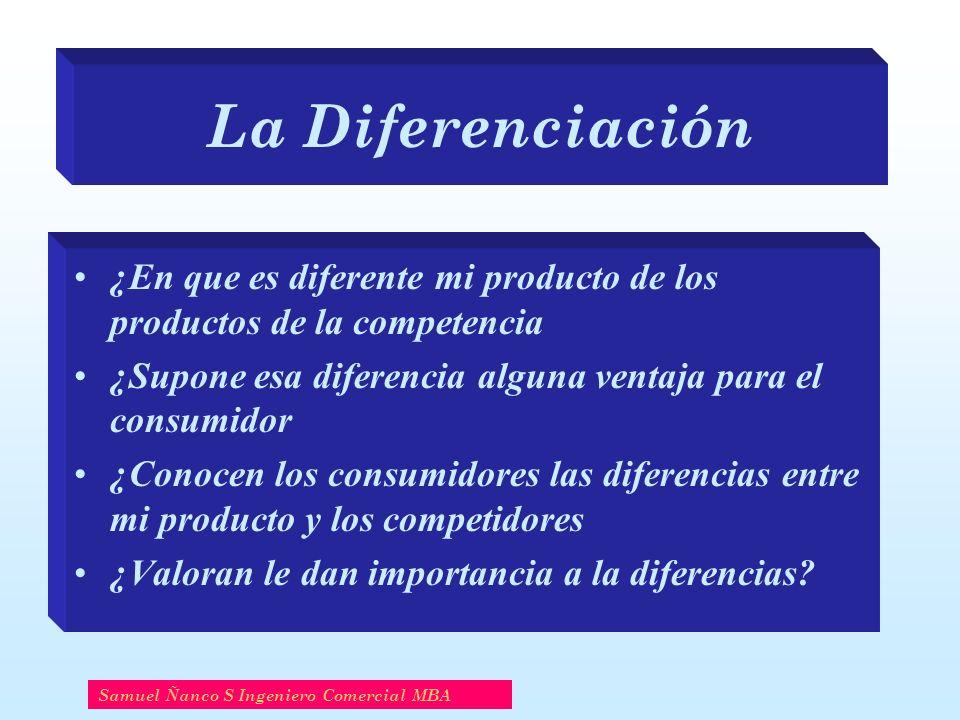 La Diferenciación ¿En que es diferente mi producto de los productos de la competencia ¿Supone esa diferencia alguna ventaja para el consumidor ¿Conoce