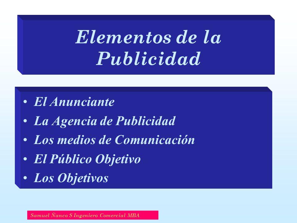 Elementos de la Publicidad El Anunciante La Agencia de Publicidad Los medios de Comunicación El Público Objetivo Los Objetivos Samuel Ñanco S Ingenier