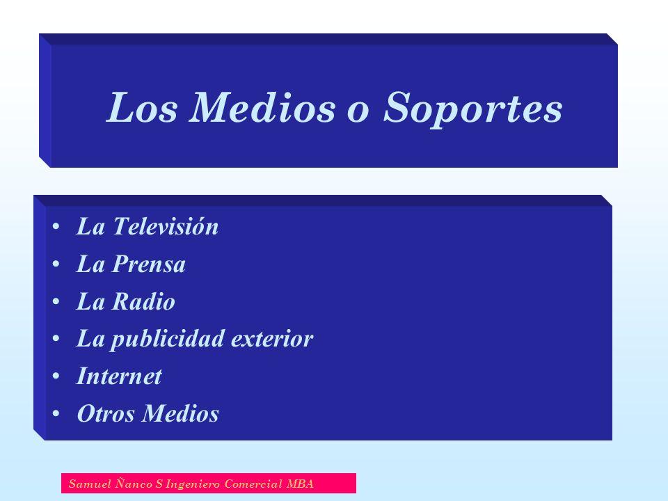 Los Medios o Soportes La Televisión La Prensa La Radio La publicidad exterior Internet Otros Medios Samuel Ñanco S Ingeniero Comercial MBA
