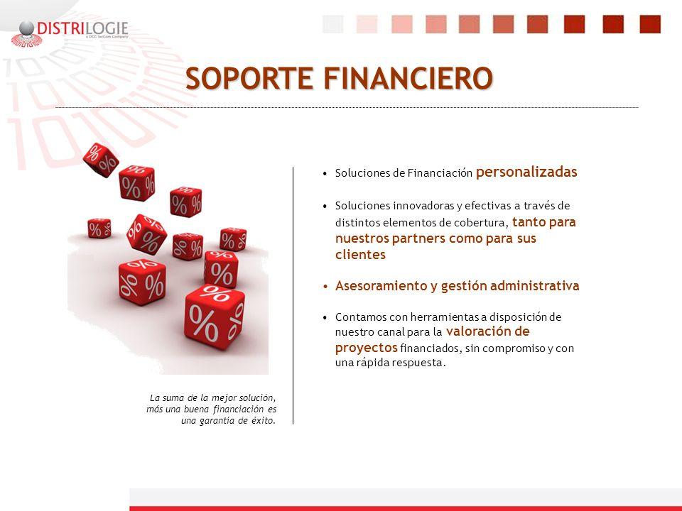 SOPORTE FINANCIERO Soluciones de Financiación personalizadas Soluciones innovadoras y efectivas a través de distintos elementos de cobertura, tanto pa