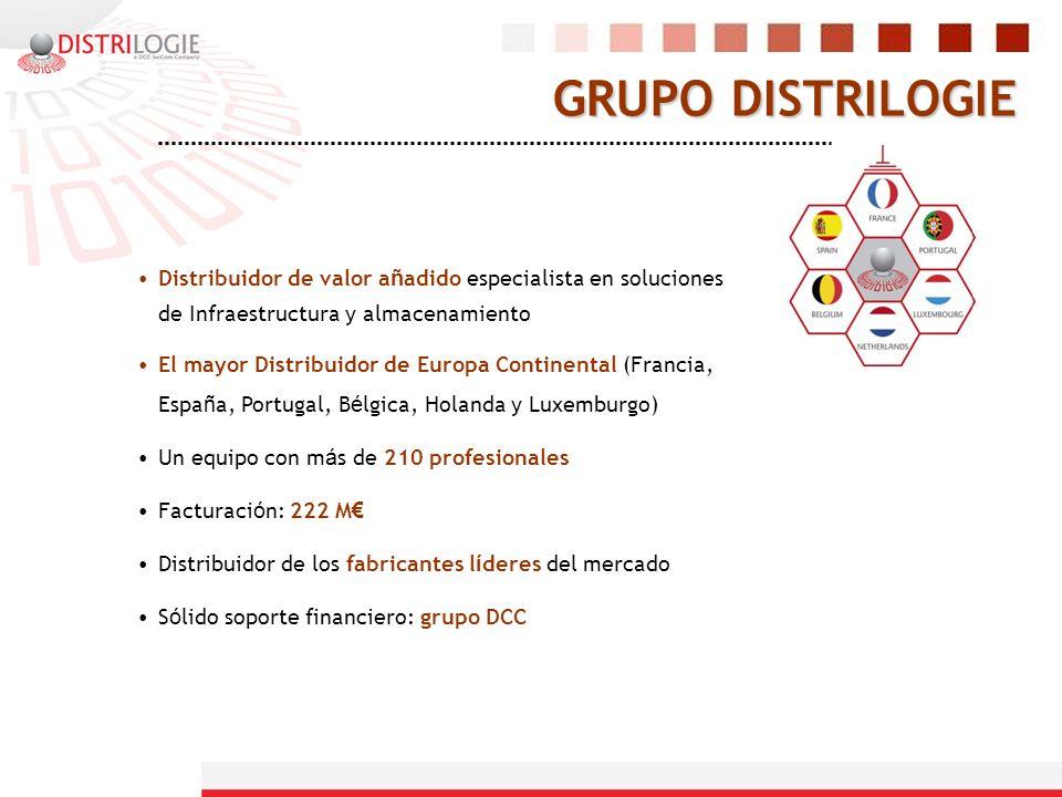 GRUPO DISTRILOGIE Distribuidor de valor a ñ adido especialista en soluciones de Infraestructura y almacenamiento El mayor Distribuidor de Europa Conti