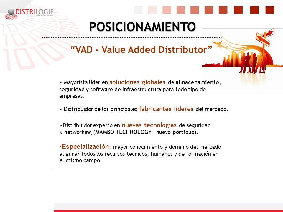 VAD - Value Added Distributor POSICIONAMIENTO Distribuidor experto en nuevas tecnologías de seguridad y networking (MAMBO TECHNOLOGY - nuevo portfolio