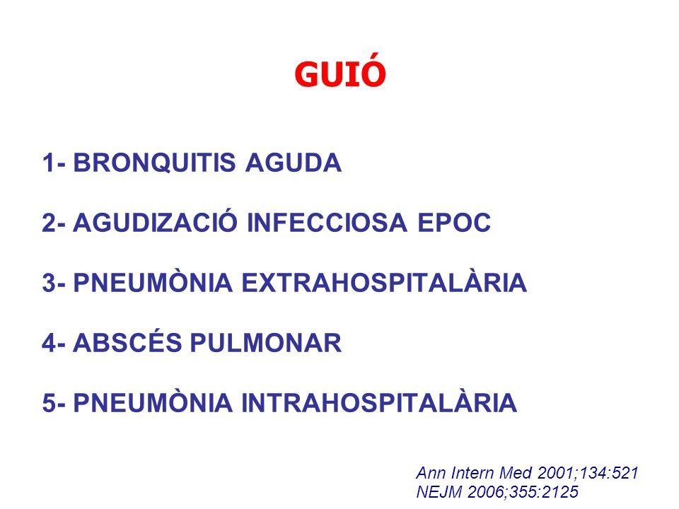 GUIÓ 1- BRONQUITIS AGUDA 2- AGUDIZACIÓ INFECCIOSA EPOC 3- PNEUMÒNIA EXTRAHOSPITALÀRIA 4- ABSCÉS PULMONAR 5- PNEUMÒNIA INTRAHOSPITALÀRIA Ann Intern Med