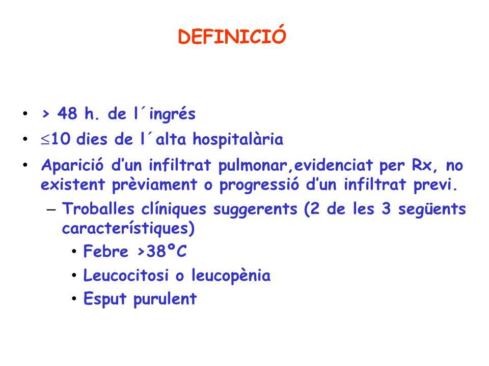 DEFINICIÓ > 48 h. de l´ingrés 10 dies de l´alta hospitalària Aparició dun infiltrat pulmonar,evidenciat per Rx, no existent prèviament o progressió du