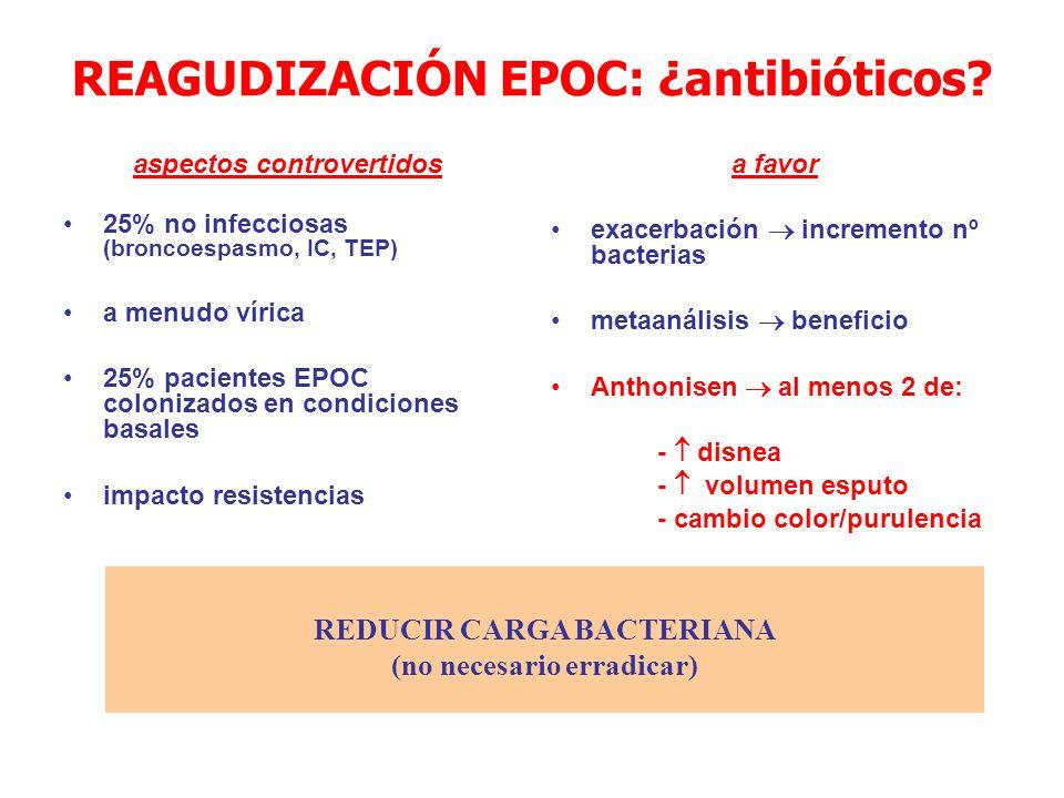 EPOC REAGUDIZADO: criterios GRAVEDAD – SO2 <90% ( pO2 <60 mmHg) – alteración del nivel de conciencia – cianosis – taquipnea (> 25 rpm) – musculatura accesoria o resp.
