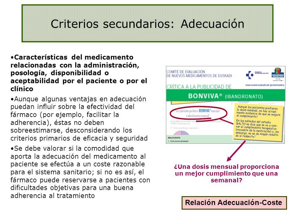 Criterios secundarios: Adecuación Relación Adecuación-Coste ¿Una dosis mensual proporciona un mejor cumplimiento que una semanal? Características del