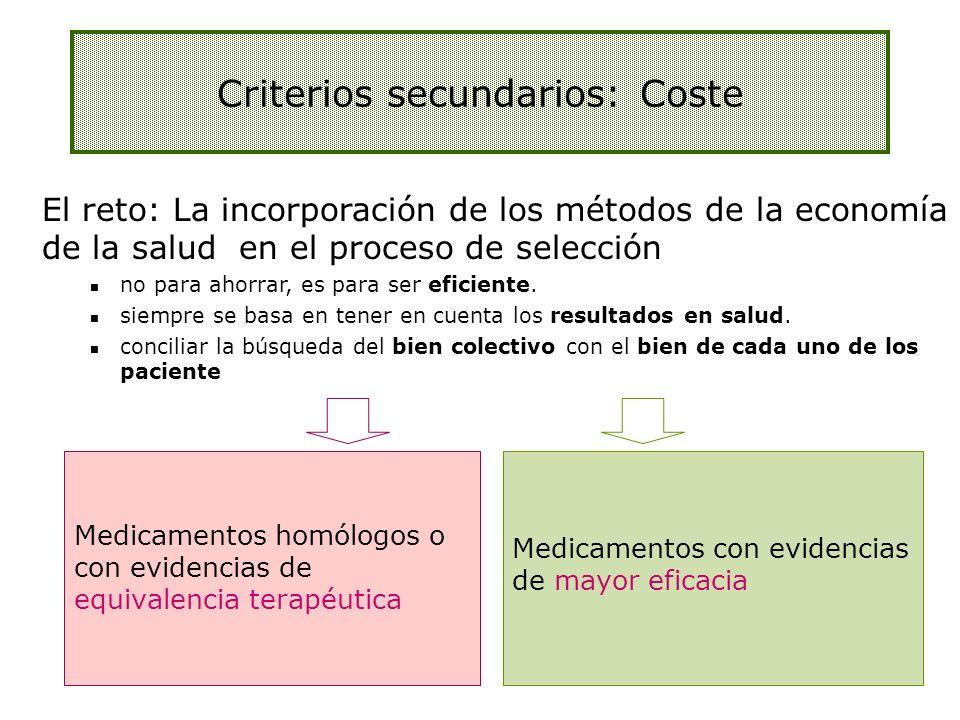 Medicamentos homólogos o con evidencias de equivalencia terapéutica Medicamentos con evidencias de mayor eficacia El reto: La incorporación de los mét