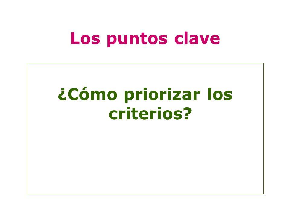 Los puntos clave ¿Cómo priorizar los criterios?