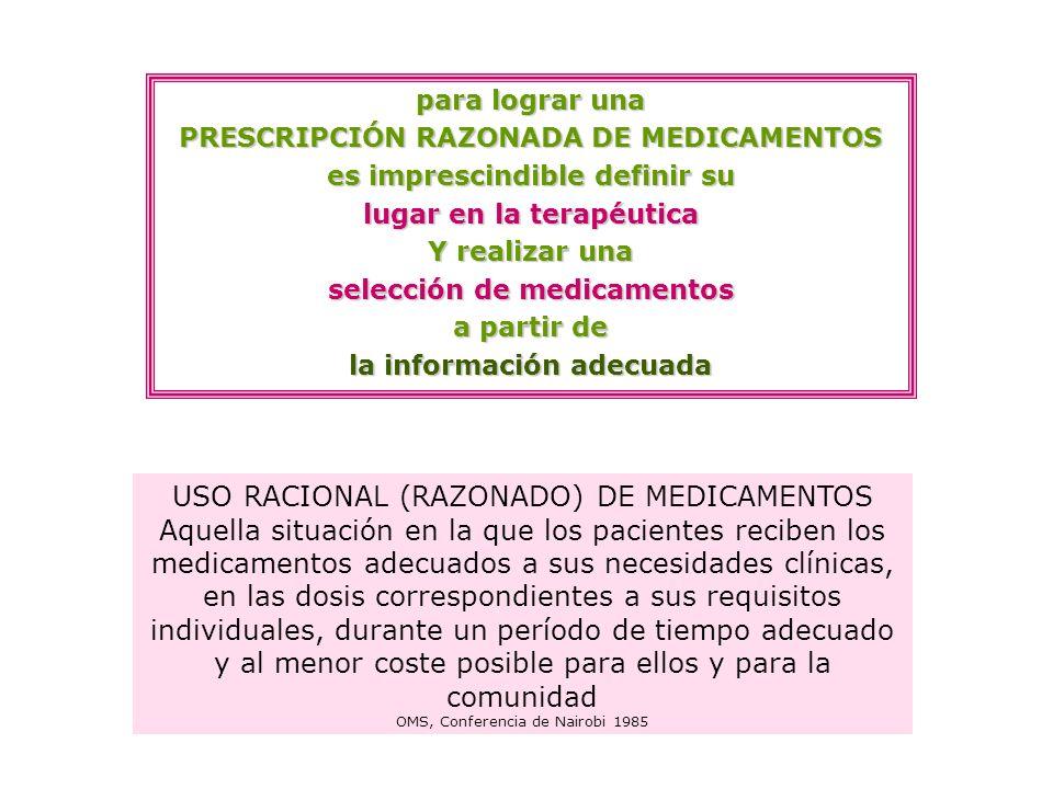 para lograr una PRESCRIPCIÓN RAZONADA DE MEDICAMENTOS es imprescindible definir su lugar en la terapéutica Y realizar una selección de medicamentos a