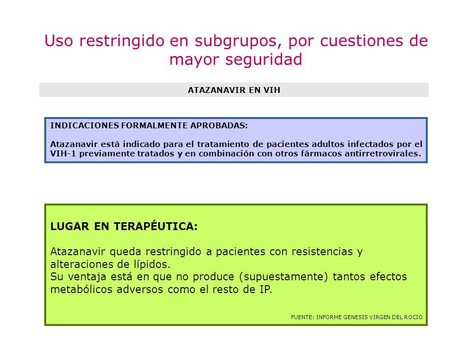 Uso restringido en subgrupos, por cuestiones de mayor seguridad ATAZANAVIR EN VIH LUGAR EN TERAPÉUTICA: Atazanavir queda restringido a pacientes con r