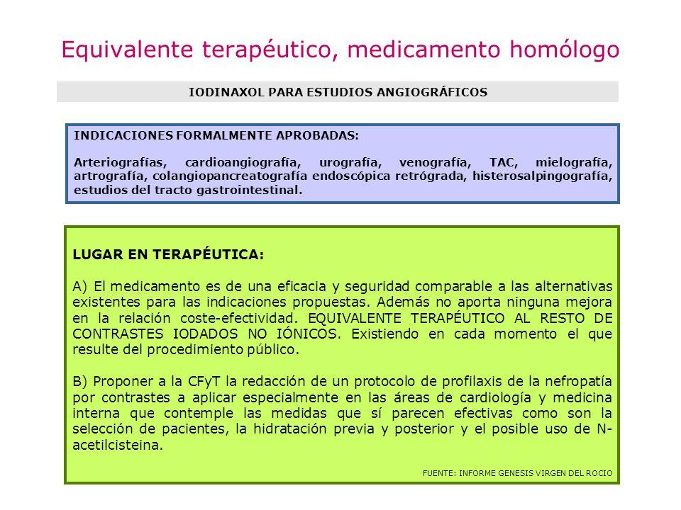 Equivalente terapéutico, medicamento homólogo IODINAXOL PARA ESTUDIOS ANGIOGRÁFICOS LUGAR EN TERAPÉUTICA: A) El medicamento es de una eficacia y segur