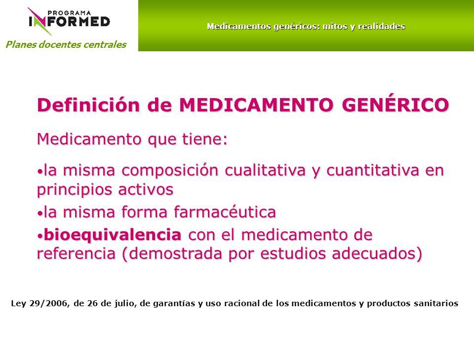 Medicamentos genéricos: mitos y realidades Planes docentes centrales Medicamento que tiene: la misma composición cualitativa y cuantitativa en princip