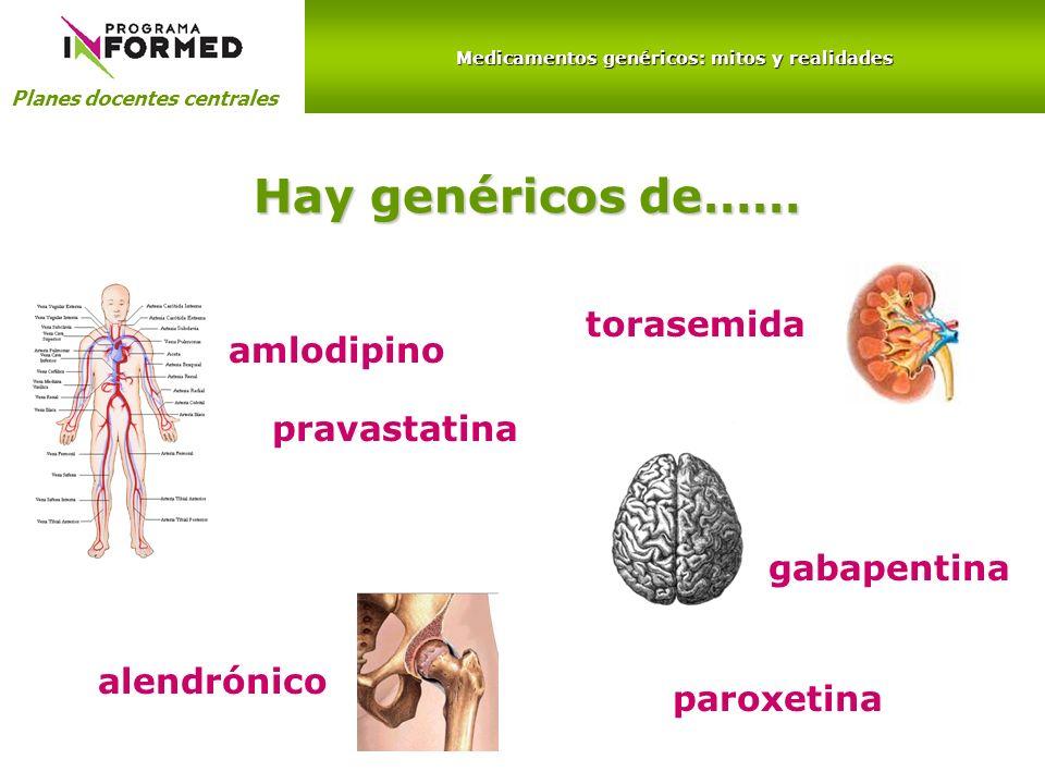 Medicamentos genéricos: mitos y realidades Planes docentes centrales Hay genéricos de…… amlodipino torasemida alendrónico gabapentina pravastatina par