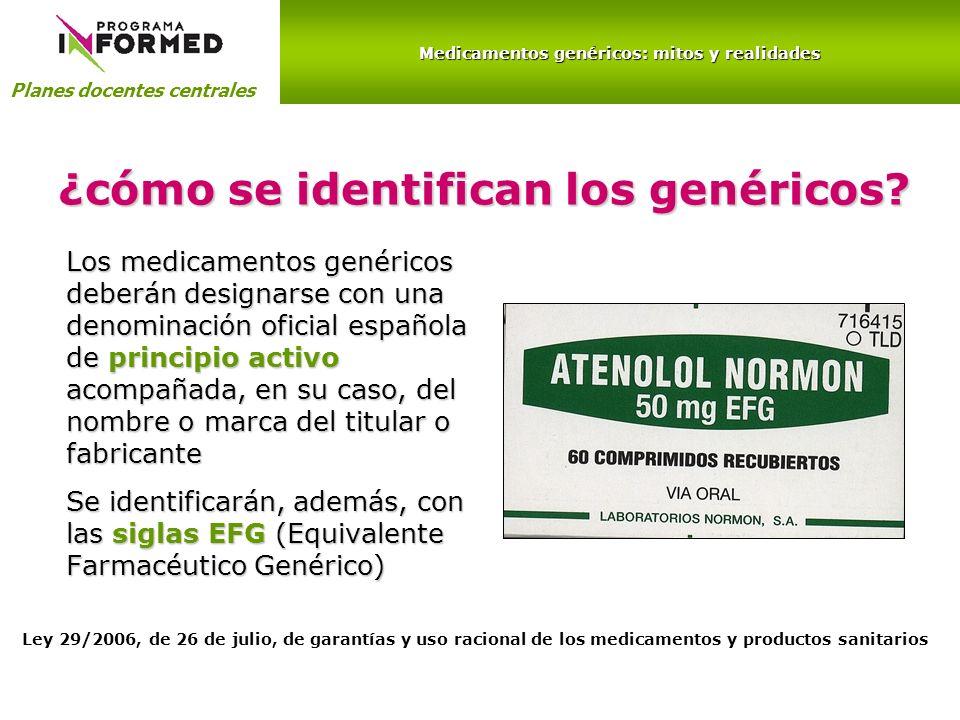 ¿cómo se identifican los genéricos? Los medicamentos genéricos deberán designarse con una denominación oficial española de principio activo acompañada