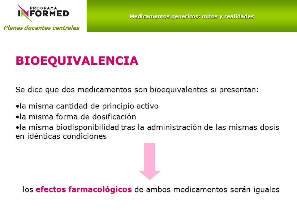 Medicamentos genéricos: mitos y realidades Planes docentes centrales BIOEQUIVALENCIA Se dice que dos medicamentos son bioequivalentes si presentan: la