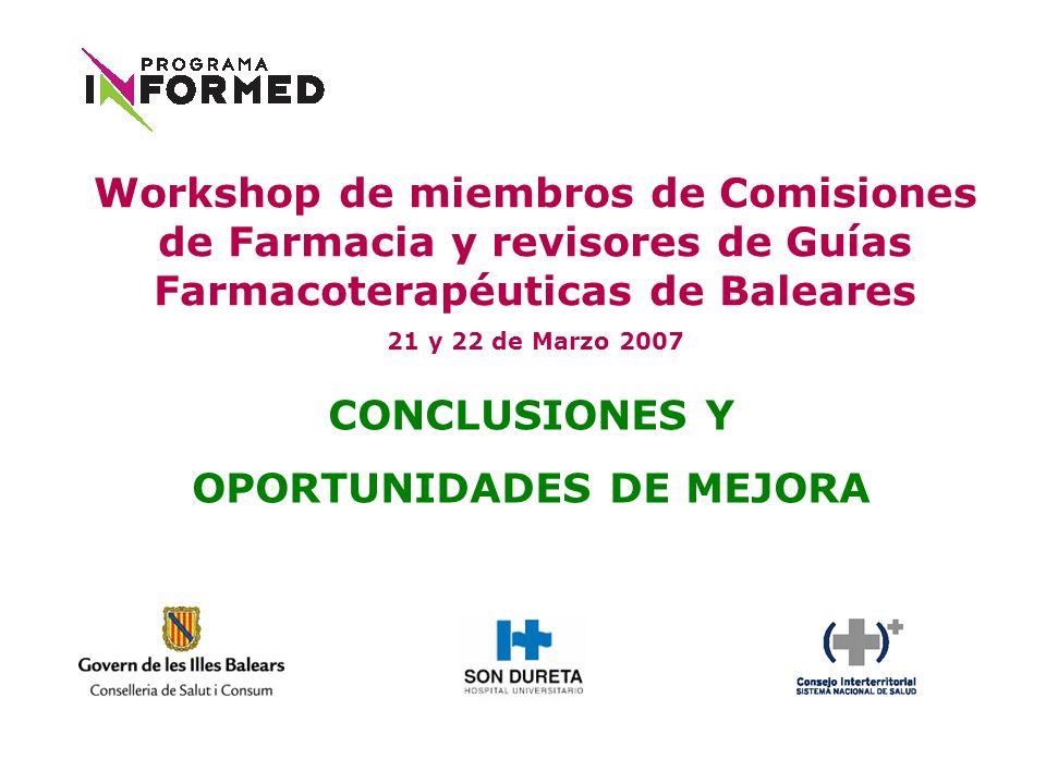 CONCLUSIONES Y OPORTUNIDADES DE MEJORA Workshop de miembros de Comisiones de Farmacia y revisores de Guías Farmacoterapéuticas de Baleares 21 y 22 de