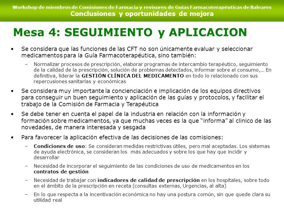 Mesa 4: SEGUIMIENTO y APLICACION Se considera que las funciones de las CFT no son únicamente evaluar y seleccionar medicamentos para la Guía Farmacote