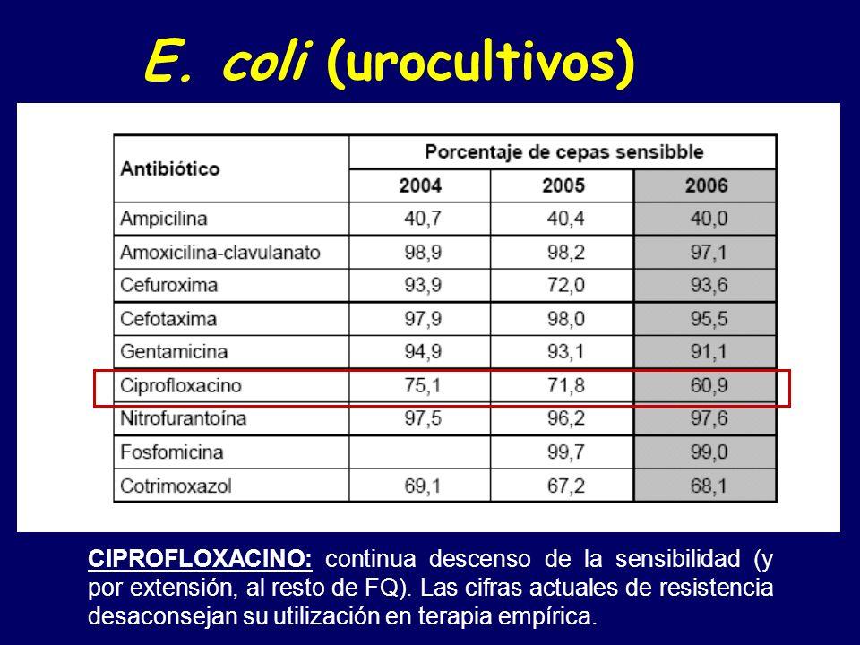FOSFOMICINA: sigue presentando excelente actividad como antiséptico urinario. E. coli (urocultivos)
