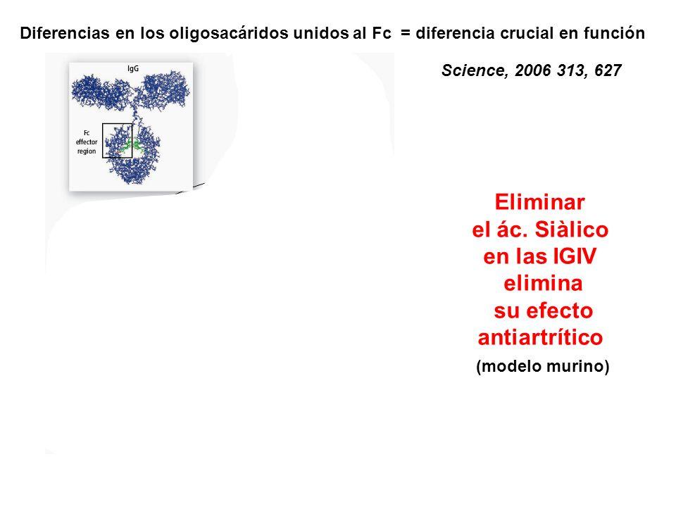 Diferencias en los oligosacáridos unidos al Fc = diferencia crucial en función Science, 2006 313, 627 Eliminar el ác. Siàlico en las IGIV elimina su e