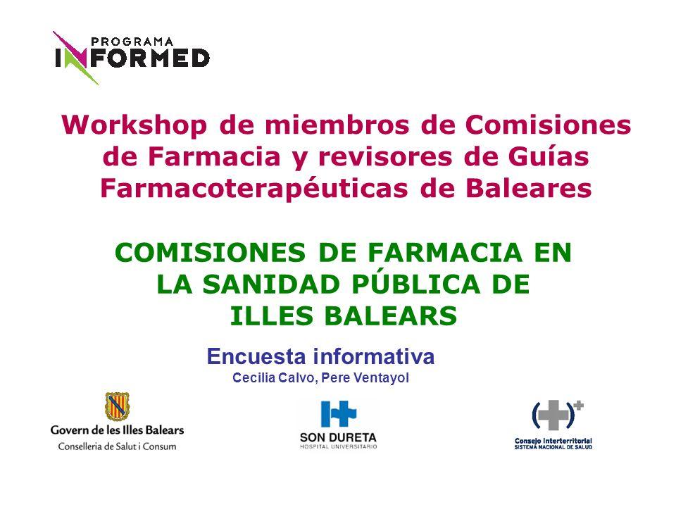 COMISIONES DE FARMACIA EN LA SANIDAD PÚBLICA DE ILLES BALEARS Workshop de miembros de Comisiones de Farmacia y revisores de Guías Farmacoterapéuticas