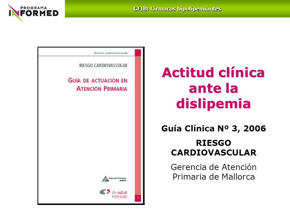 Actitud clínica ante la dislipemia Guía Clínica Nº 3, 2006 RIESGO CARDIOVASCULAR Gerencia de Atención Primaria de Mallorca GFIB: fármacos hipolipemian