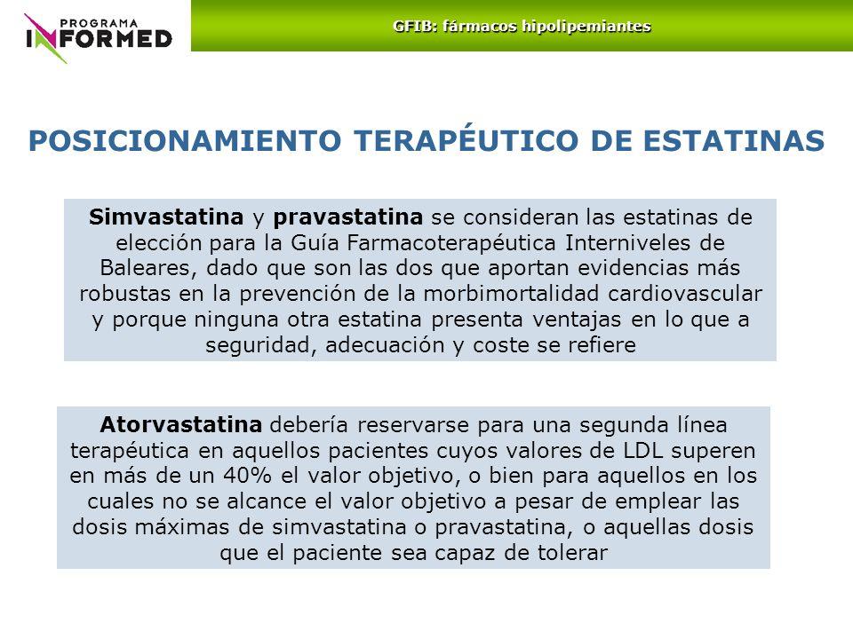 Simvastatina y pravastatina se consideran las estatinas de elección para la Guía Farmacoterapéutica Interniveles de Baleares, dado que son las dos que