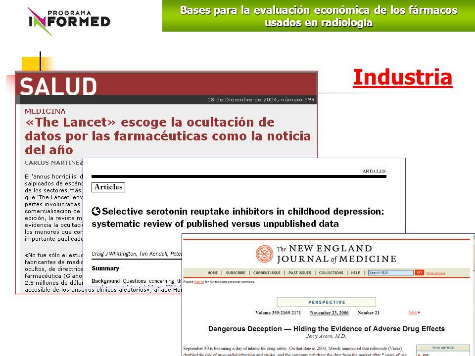 Industria Bases para la evaluación económica de los fármacos usados en radiología