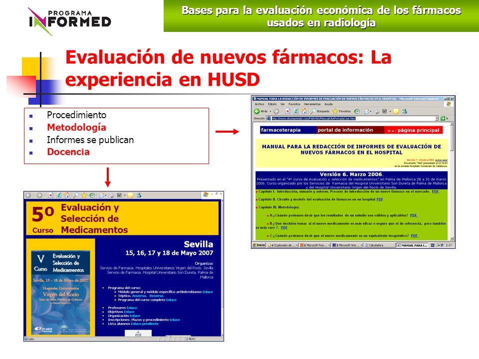 Evaluación de nuevos fármacos: La experiencia en HUSD Procedimiento Metodología Informes se publican Docencia Bases para la evaluación económica de los fármacos usados en radiología