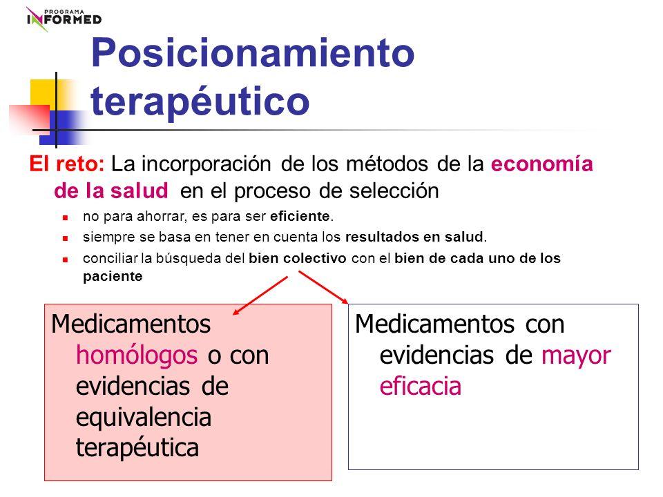 Posicionamiento terapéutico Medicamentos homólogos o con evidencias de equivalencia terapéutica Medicamentos con evidencias de mayor eficacia El reto: La incorporación de los métodos de la economía de la salud en el proceso de selección no para ahorrar, es para ser eficiente.