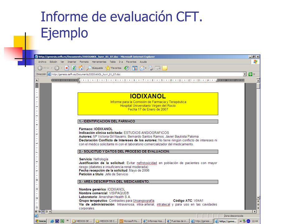Informe de evaluación CFT. Ejemplo