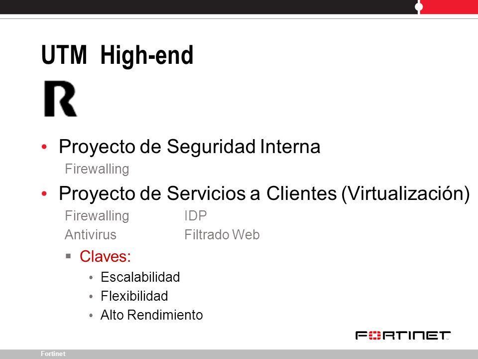 Fortinet Proyecto de Seguridad Interna Firewalling Proyecto de Servicios a Clientes (Virtualización) Firewalling IDP AntivirusFiltrado Web Claves: Esc