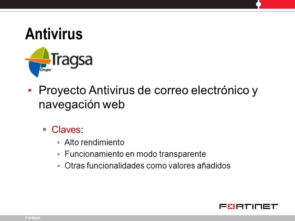 Fortinet Proyecto Antivirus de correo electrónico y navegación web Claves: Alto rendimiento Funcionamiento en modo transparente Otras funcionalidades