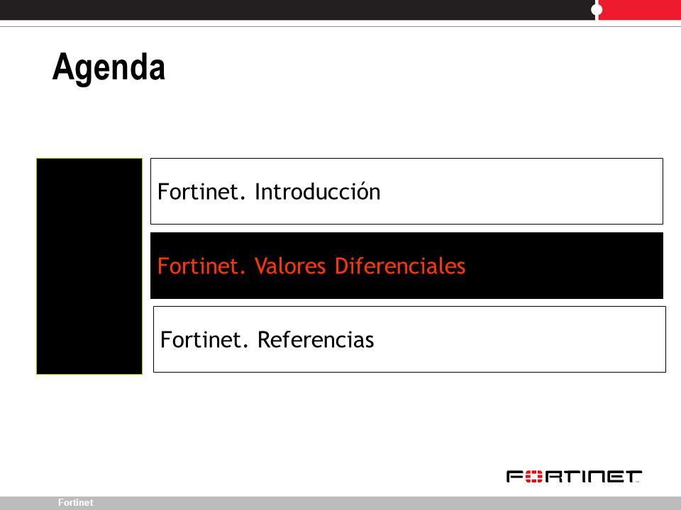 Fortinet Agenda Fortinet. Introducción Fortinet. Valores Diferenciales Fortinet. Referencias