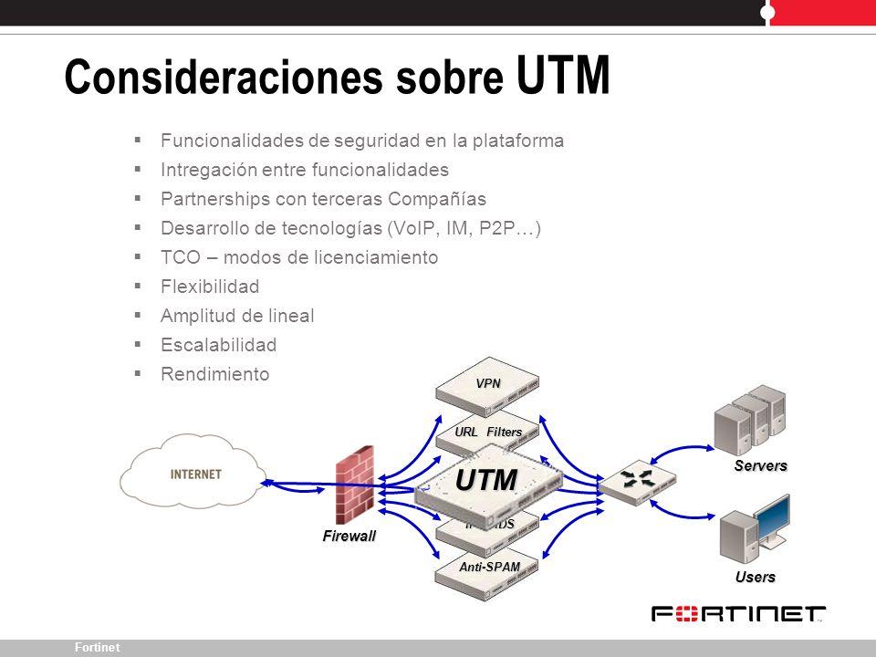 Fortinet Consideraciones sobre UTM Anti-SPAM IPS / IDS Funcionalidades de seguridad en la plataforma Intregación entre funcionalidades Partnerships co