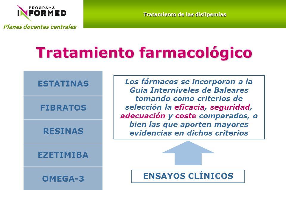 Planes docentes centrales Tratamiento de las dislipemias Tratamiento farmacológico ESTATINAS FIBRATOS RESINAS EZETIMIBA OMEGA-3 Los fármacos se incorp