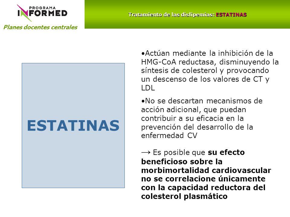 Planes docentes centrales Tratamiento de las dislipemias: ESTATINAS ESTATINAS Actúan mediante la inhibición de la HMG-CoA reductasa, disminuyendo la s
