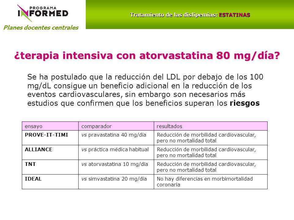 Planes docentes centrales Tratamiento de las dislipemias: ESTATINAS ¿terapia intensiva con atorvastatina 80 mg/día? Se ha postulado que la reducción d