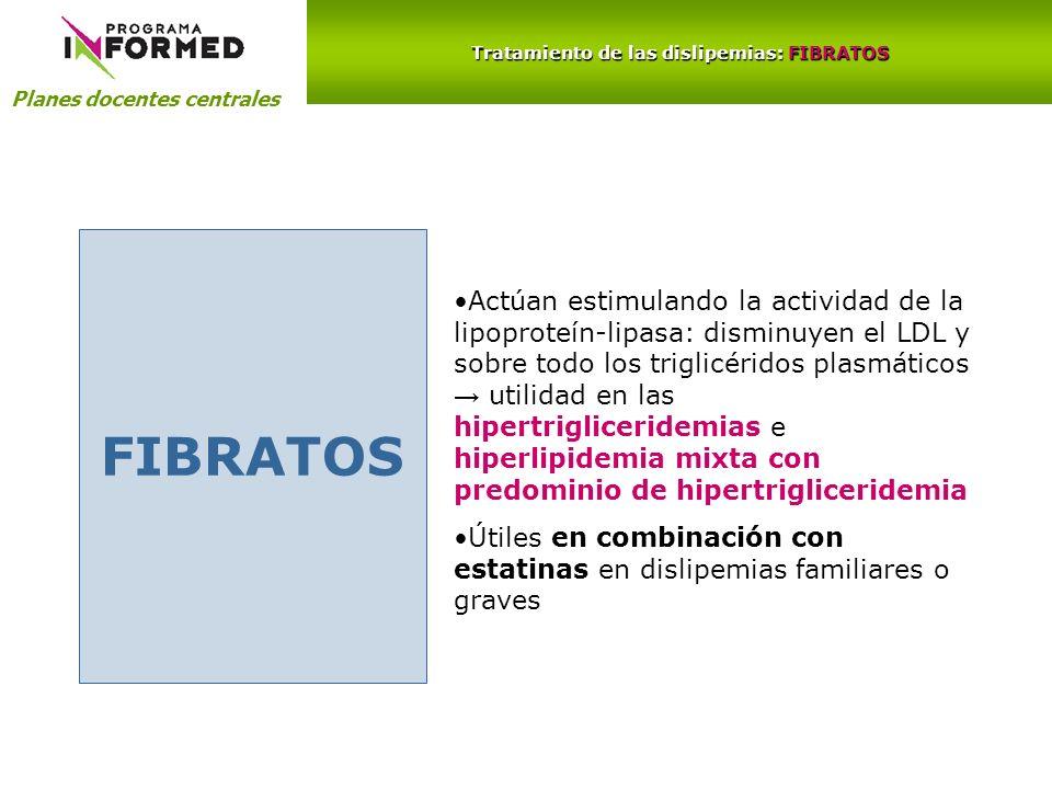 Planes docentes centrales Tratamiento de las dislipemias: FIBRATOS FIBRATOS Actúan estimulando la actividad de la lipoproteín-lipasa: disminuyen el LD