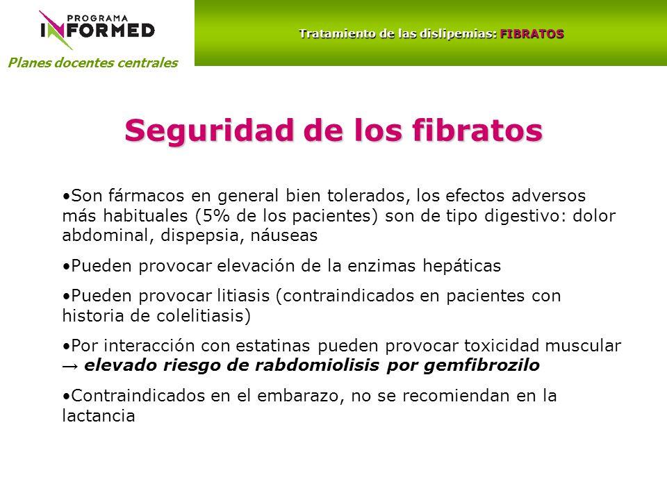 Planes docentes centrales Tratamiento de las dislipemias: FIBRATOS Seguridad de los fibratos Son fármacos en general bien tolerados, los efectos adver