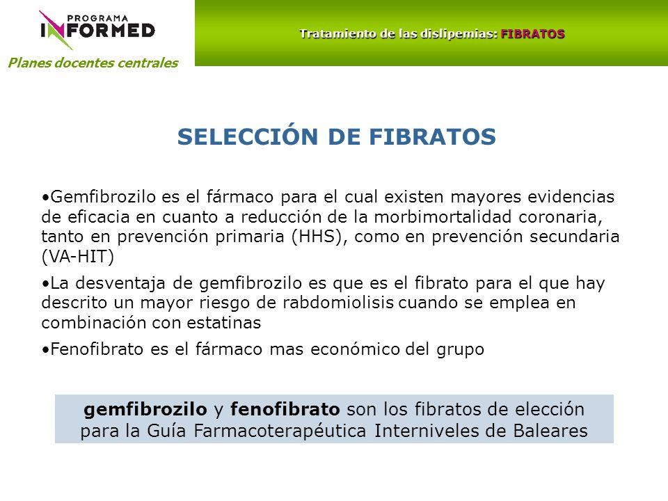 Planes docentes centrales Tratamiento de las dislipemias: FIBRATOS SELECCIÓN DE FIBRATOS Gemfibrozilo es el fármaco para el cual existen mayores evide