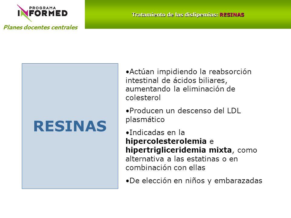 Planes docentes centrales Tratamiento de las dislipemias: RESINAS RESINAS Actúan impidiendo la reabsorción intestinal de ácidos biliares, aumentando l